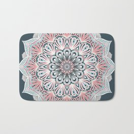 Expansion - boho mandala in soft salmon pink & blue Bath Mat