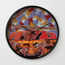 Uluru (Ayers Rock) Authentic Aboriginal Art Wall Clock