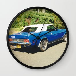 Blue And White Mustang Wall Clock