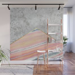 Geometric Concrete Arrow Design - Pink Marble #289 Wall Mural