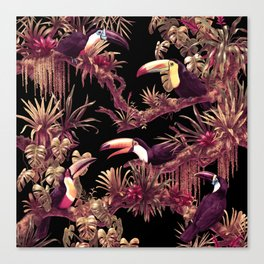 Toucans and Bromeliads - Dark Floral version Canvas Print