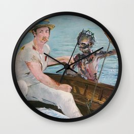Boating on Friday the 13th Wall Clock