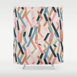 Straight Geometry Ribbons 1 Shower Curtain