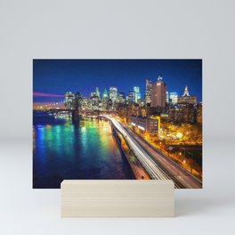 New York City Lights Blue Mini Art Print
