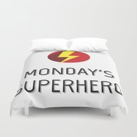 superhero Duvet Covers featuring Monday's Superhero by flydesign