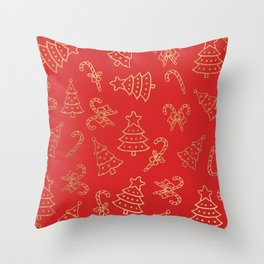 Elegant Christmas Red Faux Gold Foil Candy Cane Tree  Throw Pillow