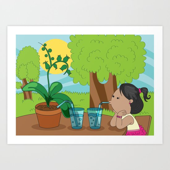 Tips on growing an orchid! - Step Four: Drinking water? Art Print
