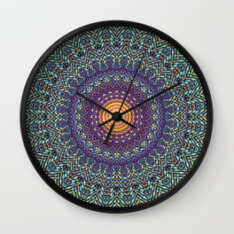 Happy Sun Circle Bohemian Geometric Thread Weave Pattern \\ Yellow Green Blue Purple Color Scheme Wall Clock