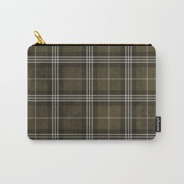 Grungy Brown Plaid Carry-All Pouch