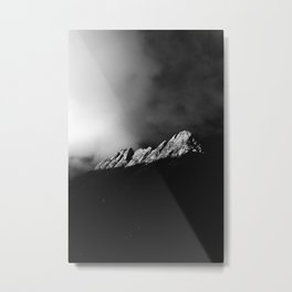 Last sun rays on the mountain in black and white Metal Print