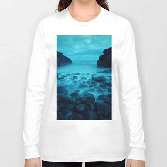 Blue Rocks Ocean and Stars Long Sleeve T-shirt