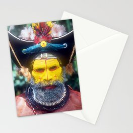 """Papua New Guinea """"Yellow Face"""" Villager At Sing Sing Stationery Cards"""