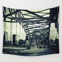 broadway Wall Tapestries featuring Broadway Bridge, Kansas City Missouri, Urban Grunge by TheWindBeneathMyTutu
