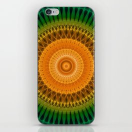 Green and yellow spikes mandala iPhone Skin