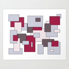 Squares - gray and purple. Art Print