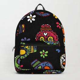 Sugar Skulls on Black Backpack
