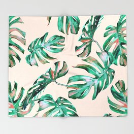 Tropical Palm Leaves Coral Greenery Throw Blanket