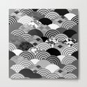 Nature background with japanese sakura flower, Cherry, wave circle Black gray white colors by ekaterinap
