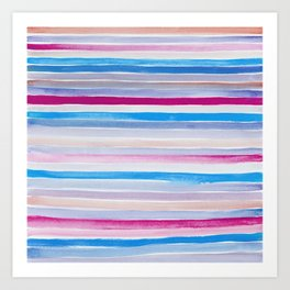 Watercolor Neck Gaiter Watercolor Blue Purple Stripes Neck Gator Art Print