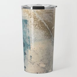 Embrace: a minimal, abstract mixed-media piece in blues and gold with a hint of pink Travel Mug