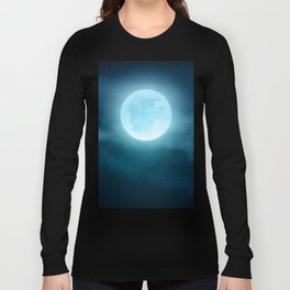 Realistic full moon on night sky with clouds Long Sleeve T-shirt
