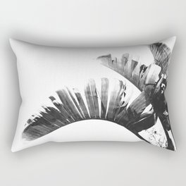 Palm leaves black and white tropical watercolor Rectangular Pillow