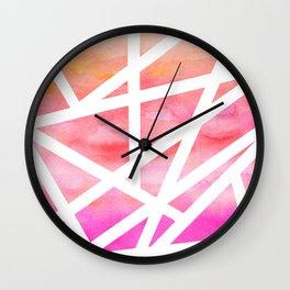 Modern handdrawn stripes geometric pink watercolor Wall Clock