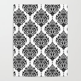 Black and White Damask Poster
