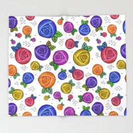 Retro Illustrated Roses Throw Blanket