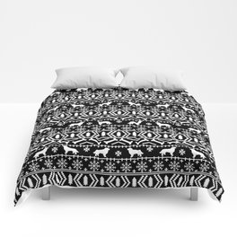 Bernese Mountain Dog fair isle christmas black and white pattern holiday dog breed gifts Comforters