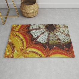 Stained glass roof of the Lafayette Galleries in Paris - Fine Arts Travel Photography Rug