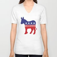tennessee V-neck T-shirts featuring Tennessee Democrat Donkey by Democrat