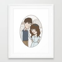 500 days of summer Framed Art Prints featuring 500 days of summer portrait. by Nic Lawson