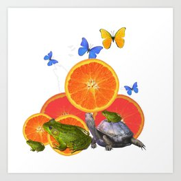 SURREAL GREEN FROGS BUTTERFLIES FRUIT & TURTLE Art Print