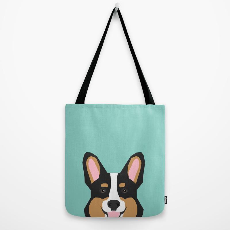 Customizable! Tri Color Corgi dog tote bag