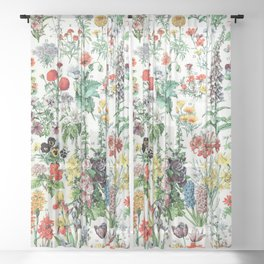 Adolphe Millot - Fleurs A - French vintage poster Sheer Curtain