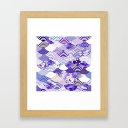 Nature background with japanese sakura flower, Cherry, wave circle. Ultra Violet Color of the Year Framed Art Print