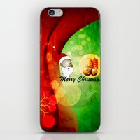 merry christmas iPhone & iPod Skins featuring Merry christmas by nicky2342