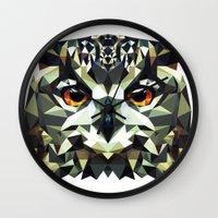 polygon Wall Clocks featuring Polygon Owl by Andrew Mason