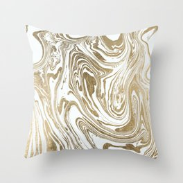 Stylish white faux gold foil elegant marble Throw Pillow