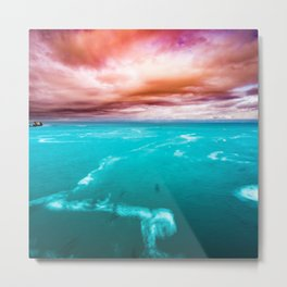 Fire and Water Sea Metal Print