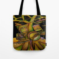 drums Tote Bags featuring Drums- Rooted Beat by Alexa Brooke Rutledge