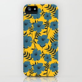 Blue Flowers with Banana Leaves with Yellow iPhone Case