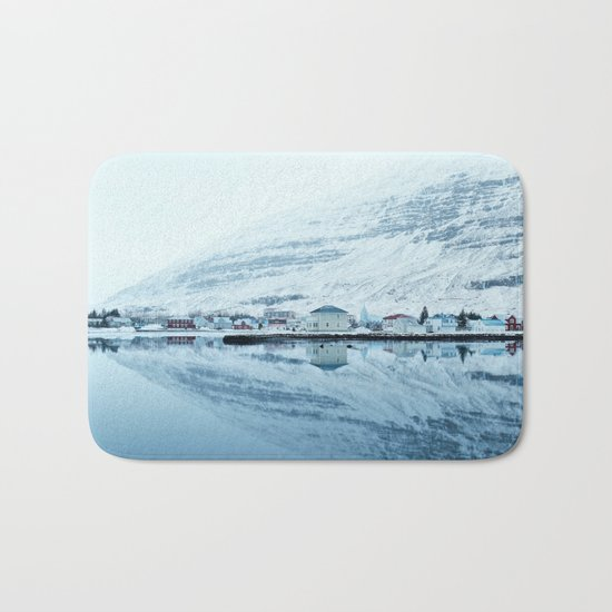 Houses by the water reflect Bath Mat