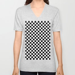 White and Black Checkerboard Unisex V-Neck