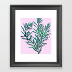Olive branches in pink and green Framed Art Print