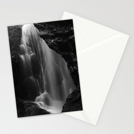 Black and white waterfall long exposure Stationery Cards