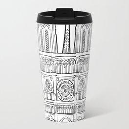 Notre Dame facade illustration. Travel Mug