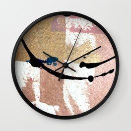 01014: pink, gold, and white abstract Wall Clock