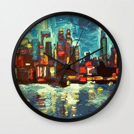 Abstract NYC Skyline Wall Clock
